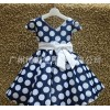 Manufacturers wholesale girls satin dress white bow tie belt + white little blue dress