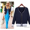 In the autumn of 2014 new foreign trade knitwear Europe color striped long sleeved knit cardigan