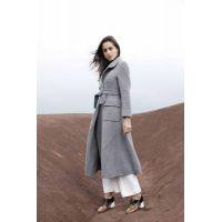 灰色腰带女士羊绒大衣