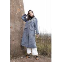 Slant-pocket Grey Lady's Overcoat