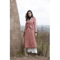 Black buckled waist pink lady's overcoat
