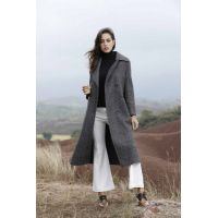 Grey six-button waist-length lady cashmere overcoat